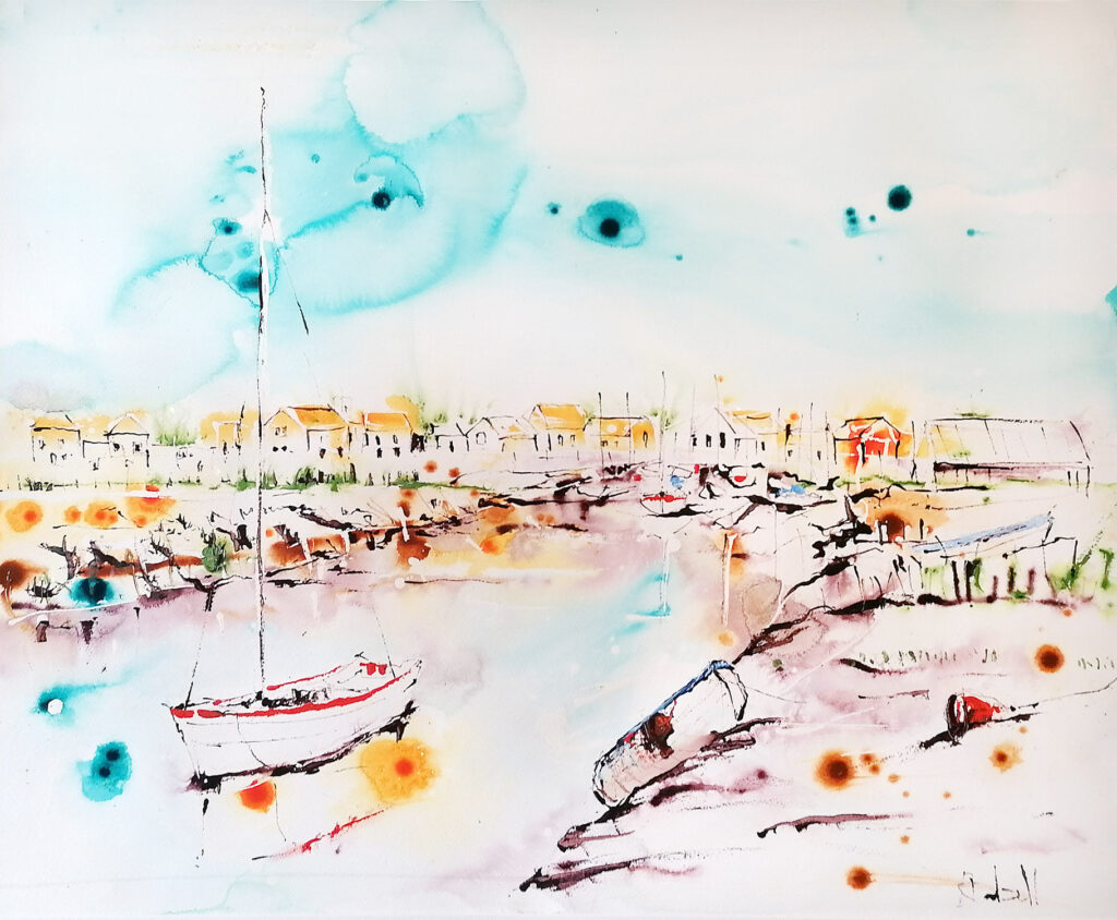 Boats at low tide - 90 x 70cm SOLD