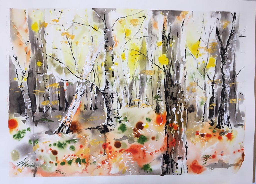Leaves of autumn - 55cm x 75cm  unframed - SOLD