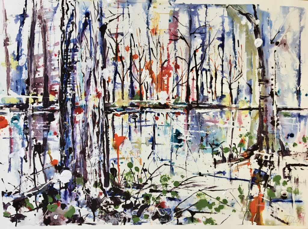 Moonlit forest - 55cm x 75cm  unframed
