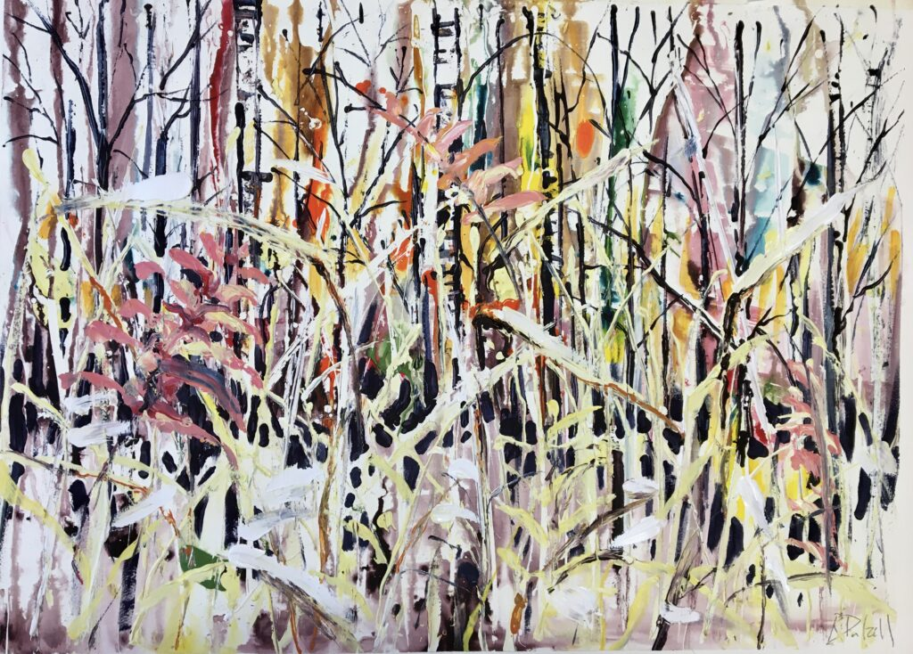 Winter reeds and trees - 55cm x 75cm  unframed