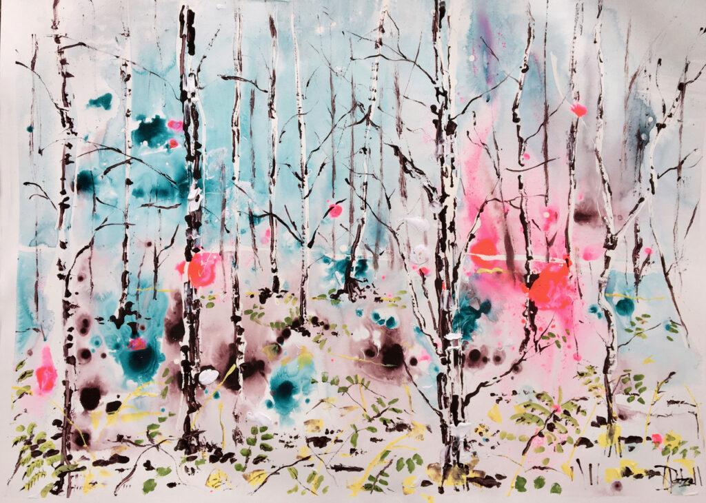 Winter forest - 75 x 55cm unframed