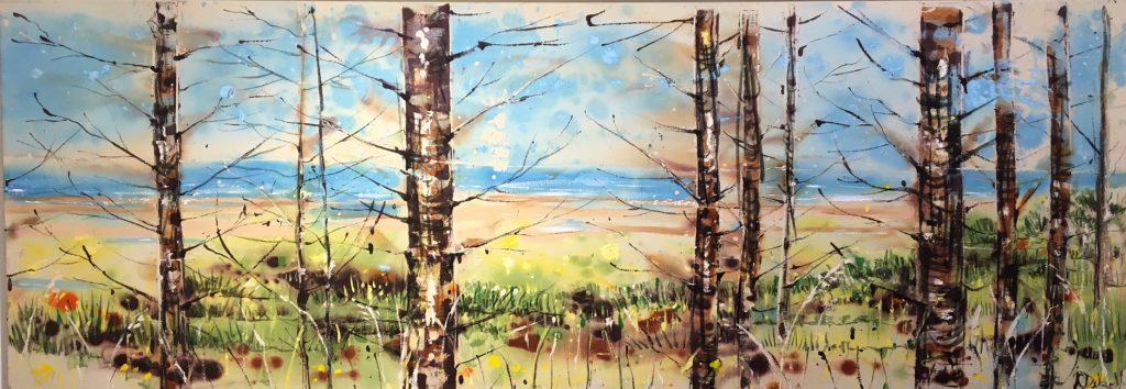 Through the trees to the sea - 75 x 205 x 6 cm