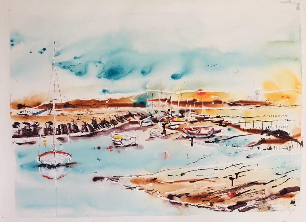 Boats at Blakeney 55 x 75 cm unframed SOLD