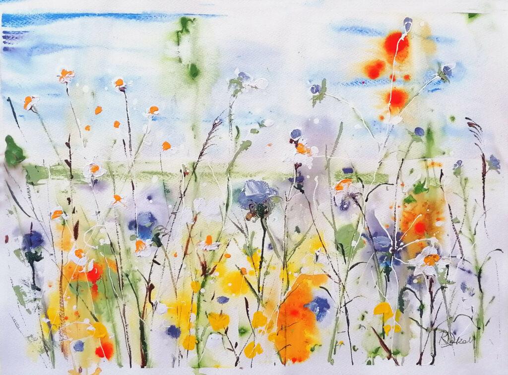 Wildflowers of summer 55cm x 75cm  unframed  - SOLD