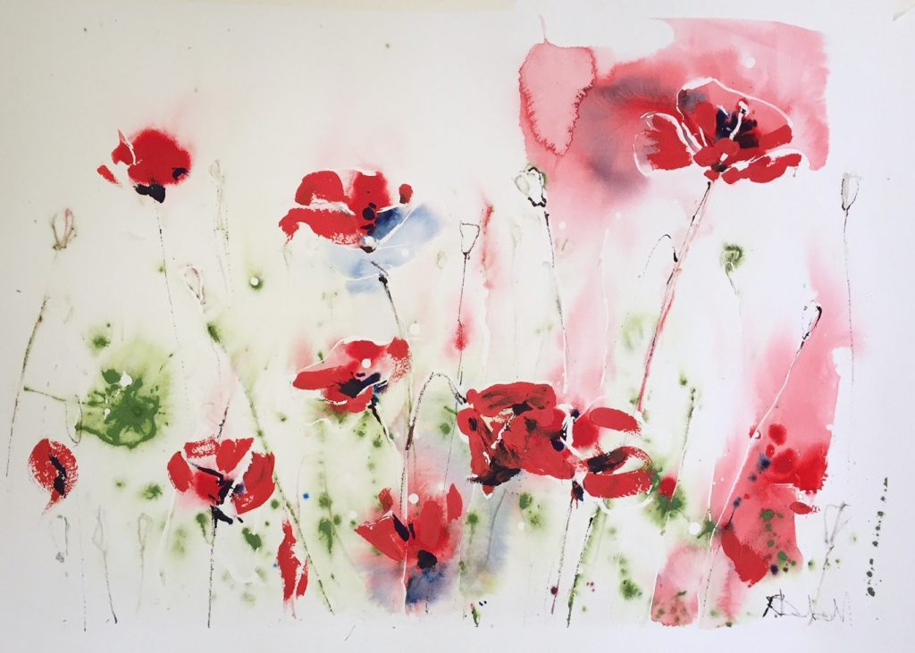 Poppies 55 x 75 cm unframed SOLD