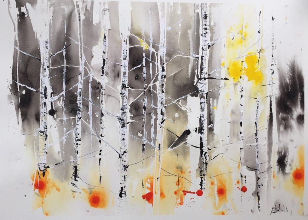 Light fills the forest 55 x 75 cm unframed - SOLD