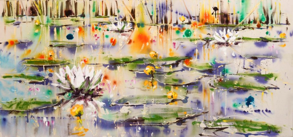 Lillies on the river - 95 × 145 × 8 cm