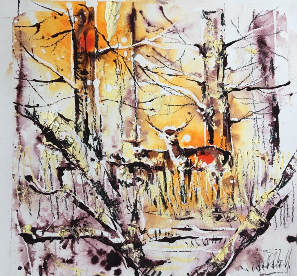 Deer through trees - 26 x 26cm - SOLD
