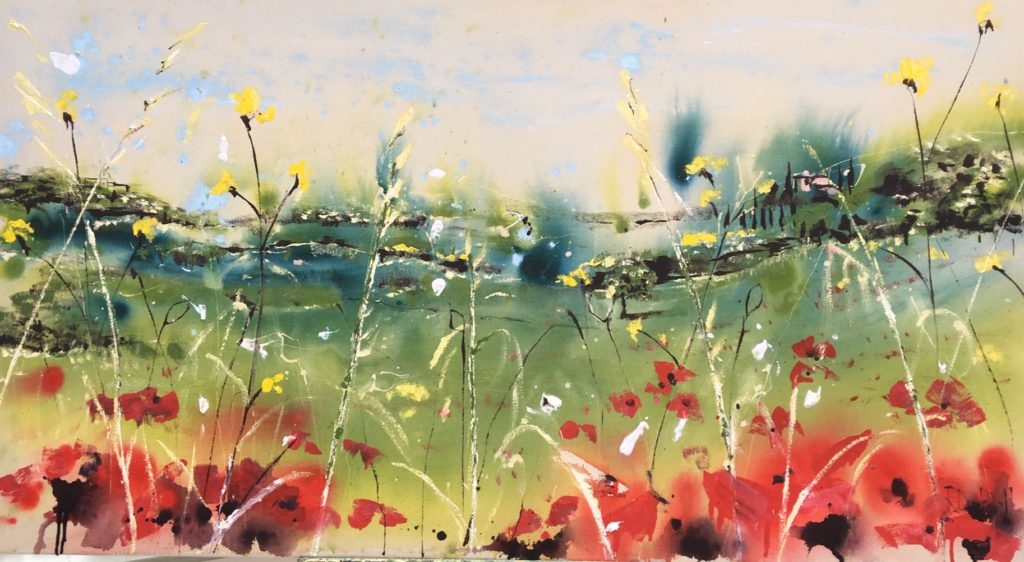 Poppies in Umbria - 200cm X 80cm