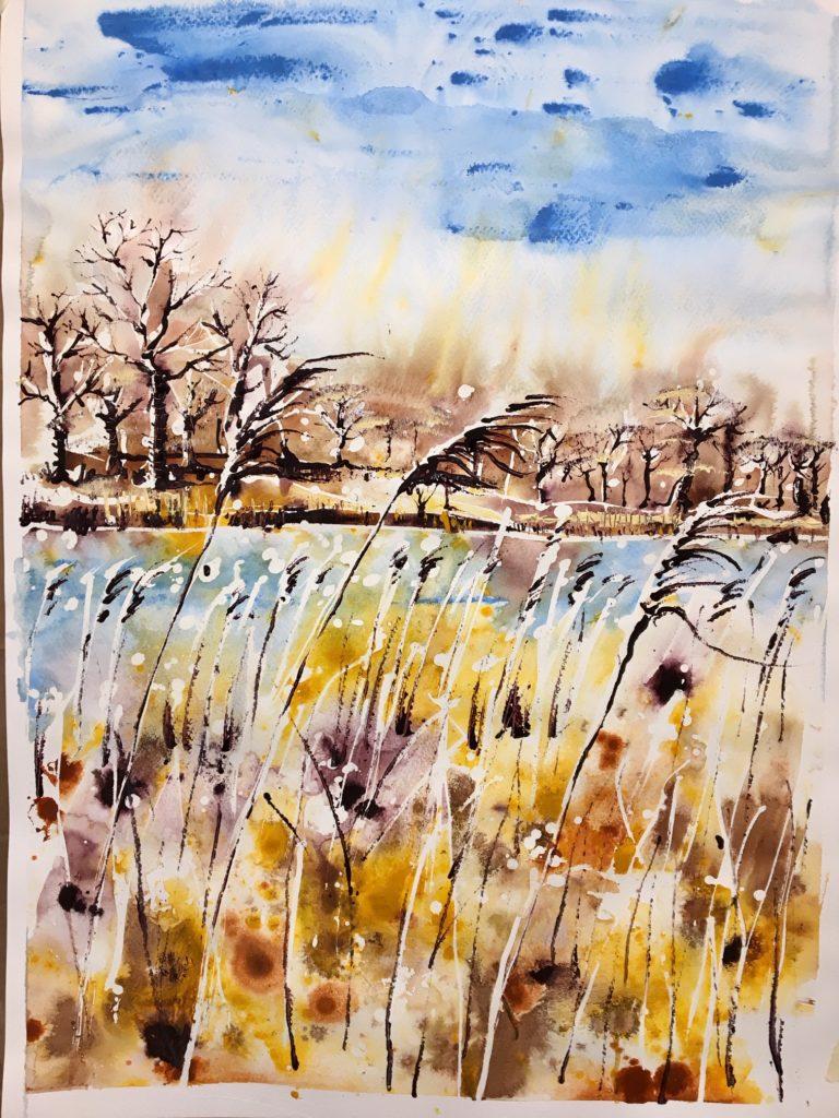 Dancing grass - paper -55 x 75 cm unframed
