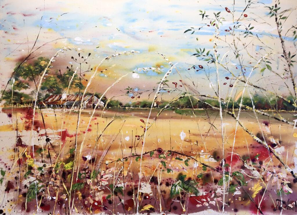 Across the fields in Autumn - 175 × 125 × 4 cm